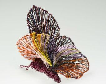 Art butterfly brooch Unusual wire butterflies Brooch jewelry Magenta jewelry Unique Mother gifts Sculptural jewelry butterfly brooch.