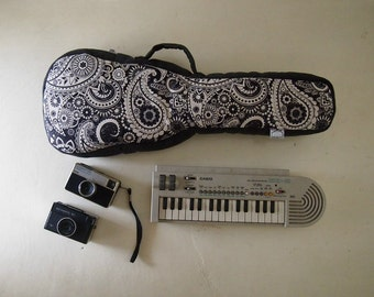 Concert ukulele case - Paisley Black and white Ukelele Case with hidden pocket (Ready to ship)
