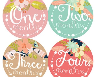 FREE GIFT, Tribal Monthly Baby Stickers, Baby Girl, Arrow Month Stickers, Baby Month Stickers Girl, Tribal Nursery Decor, Baby Shower Gift