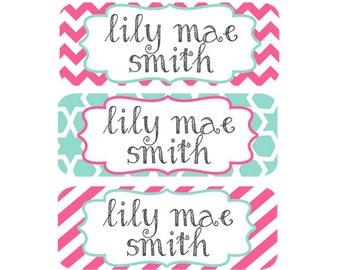 Name Labels, Baby Bottle Labels, Daycare Labels, School Name Labels, Dishwasher Safe, Waterproof Name Labels, Pink, Mint, Teal, Girl