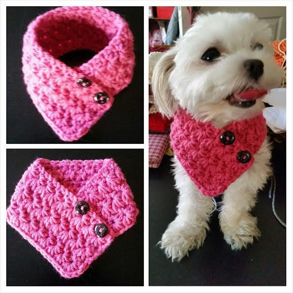 Free Crochet Patterns For Very Small Dogs : Small Dog Crocheted scarf PINK Colors fits most S or M dogs