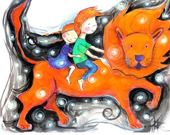 Lion Parade - children and animals - small print for big hearts