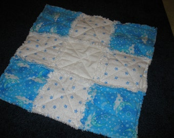 PRICE REDUCED - Moon and Stars Rag Quilt Security Blankey