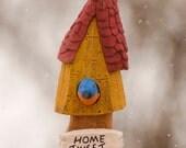 Relief Carving Decorative  Birdhouse--  shelf decor, wall art,rustic,folk art, bluebird, whimsical,made in Ohio,Robin Arnold,cottonwood bark