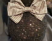 Colorcheck Black/Tan Bow  with Black Net Snood