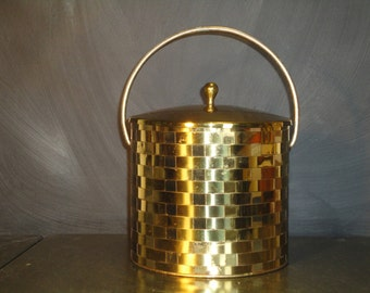 Vintage Mid Century Ice Bucket Barware Woven Brass Pyrex Liner Entertaining Shiny