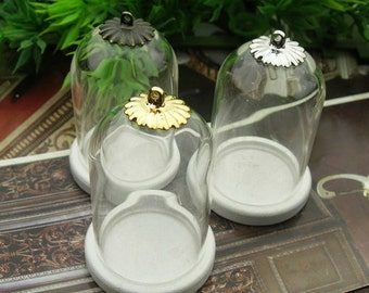 4set 25X38mm Clear Glass Bell Bottle with Wooden Pendant  (GB253801)