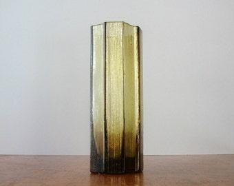 Pukeberg Swedish Modern Glass Vase Olive Ice / Bark