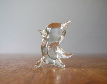 Tiny Vintage Glass / Crystal Bird Figurine