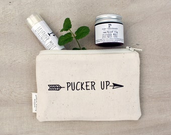 Valentines Day Pucker Up Pouch and Lip Care Gift Set, Lip Balm and Lip Scrub with Canvas Zipper Pouch