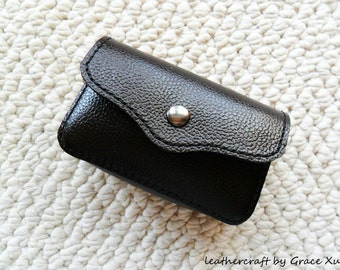 """100% hand stitched handmade super dark brown cowhide leather 2"""" x 3.5"""" business cards, credit cards holder"""