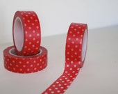 Red mini polka dot washi tape for your gift wrap needs, Christmas decor, Valentines cards, Red washi tape,