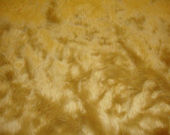 "Camel shaggy faux fur upholstery custom fabric by the yard 60"" wide"
