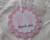 Set Of 12 Scallop Pink Baby Polka Dot Feet Tags - Baby Shower Favor Tag