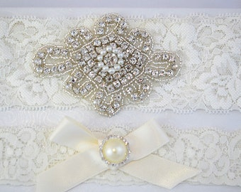 SALE Crystal pearl Wedding Garter Set, Stretch Lace Garter, Rhinestone Crystal Bridal Garters