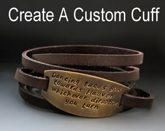 Personalized Leather Wrap Bracelet - Hand Stamped - Custom - 7 COLORS