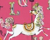 Dear Stella Fabric - Hot Pink Carousel - STELLA-154 Pink , horses, alphabet letters