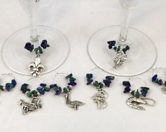 Handmade by L'Amour Louisiane, Lapis Lazuli and Malachite Wine Glass Charms