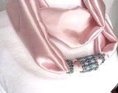 Pink Beaded Scarf Necklace, Infinity Necklace, Infinity Scarf, Seed Bead, Woven, Gift Idea