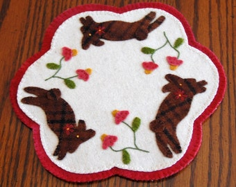 Chocolate Bunny Penny Wool Candle Mat