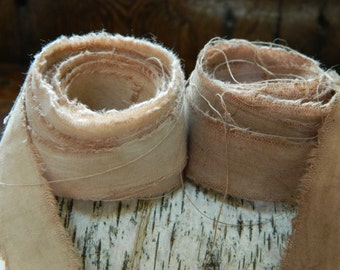 Vintage Bride - Caramel and Coffee Distressed cotton  hair ribbon - 4 yards - 2 yards each ribbon - 3/4 inch wide