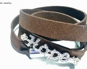 Brown Suede HOPE Rhinestone Silver Wrap