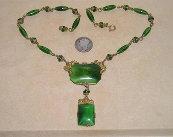 Antique Drop Necklace With Green Art Glass And Brass Accents 1890's Vintage Jewelry 3118