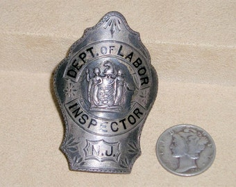 Antique Sterling Silver Department Of Labor Inspector N.J. Badge Circa 1915 Vintage Signed Brooch Jewelry 977