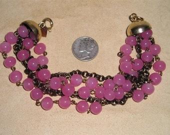 Vintage Signed Kramer Of NY Fancy Pink Beaded Glass Bracelet 1940's Signed Jewelry 2103