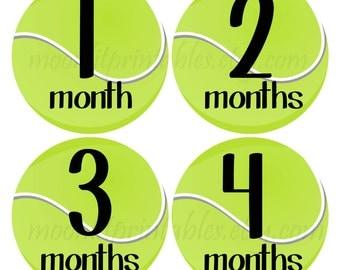 Tennis Baby Stickers, Tennis Bodysuit Stickers, Milestone Stickers, Monthly Age Stickers, Tennis Nursery Decor, Tennis Balls (237)