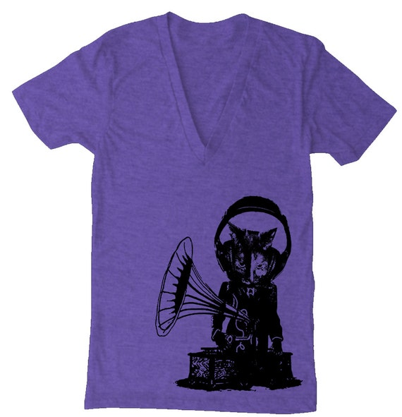 SALE - Unisex Record Player Music CAT Deep V Neck T Shirt - American Apparel - Tri Orchid - Size XS