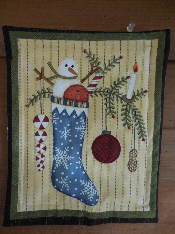 Primitive Christmas Wall Decor : Primitive wall hanging quilt candle mat christmas snowman