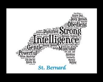 St Bernard,St. Bernard, Saint Bernard Art, St Bernard Artwork, Saint Bernard Print, Saint Bernard Lover, Saint Bernard Gift