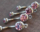 3 Light Pink Crystal Belly Button Ring with Loop to Add Charm 14 Gauge  304 Surgical Stainless Steel