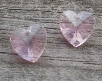 8 Pink Crystal Heart Briolette beads 10mm Faceted Glass