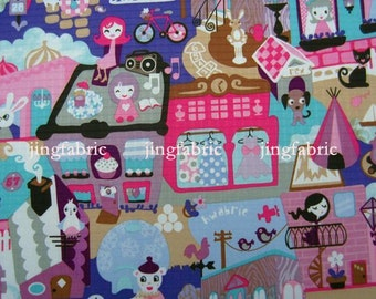 "W272A  - Vinyl Waterproof Fabric - Cartoon - girls and animals - purple - 27""x19""(70cmX50cm)"