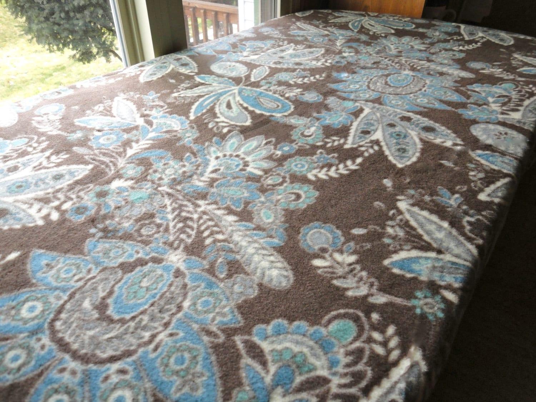 Boy Bedding Fleece Fitted Sheet Brown Paisley Print