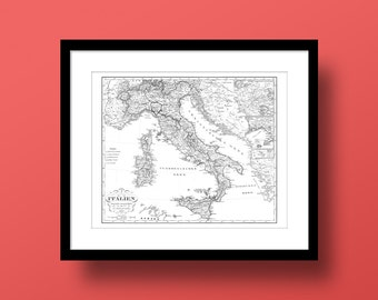 Italy Map (Version II), Fine Art Print, Premium Canvas Gallery Wrap