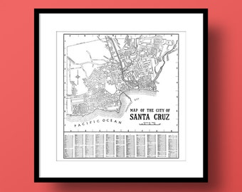 Santa Cruz California Map, Fine Art Print, Canvas Gallery Wrap