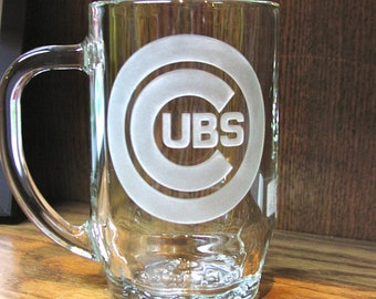 Sports Beer Mug, Cubs Sports Mug, Chicago Beer Mug, Chicago Cubs Gift, Sports Mug personalized
