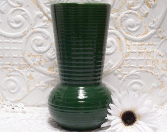 Large Green Pottery Vase 10 Inch