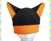 Anime Kitty Hat Black and Orange - Fleece Neko Adult Teen Child Winter Warm Rave Dance Emo Goth Punk Animal Cute Kawaii Cosplay Cat Ears