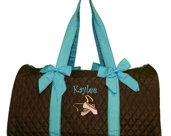 Personalized Brown Dance Duffel Bag With Embroidered Ballet Shoes & Name with Solid Aqua Ribbon Trim