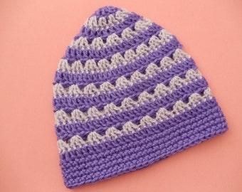 Purple Lavender Striped Beanie Lacy Crochet Hat Violet Lilac Women's Beanie (HAT103 Grape/Soft Lilac)