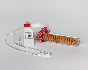 Milk and Cookie Necklace -  Cookies in a jar Necklace -  Food Necklace - Cookie Necklace - Bottle Necklace