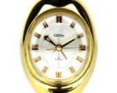 Vintage Retro 1970's Japanese Gold Coloured Alarm Clock by Coral - FREE UK SHIPPING