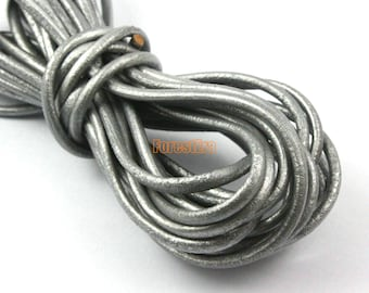 5 Yards 3mm Leather Cord Silver Leather Belt Round Leather Cord Genuine Leather Cord (YPS15)
