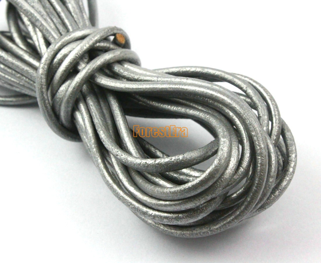 5 yards 3mm leather cord silver leather belt leather
