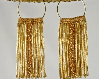Antique French Gold Fringe Hoop Earrings