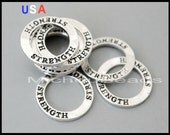 5 Silver STRENGTH Infinity Circle Charm Connectors - 23mm Message Word Circle Donut Charm Link - Instant Ship - USA Diy Supplies - 6000
